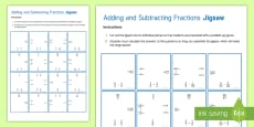 Adding and Subtracting Fractions Jigsaw Activity Sheet
