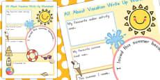 Summer Vacation Write Up Activity Sheet