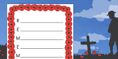 Australia - 'Remember' Remembrance Day Acrostic Poem Template