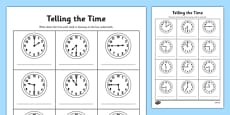 O'clock, Half Past and Quarter To Times Activity Sheet