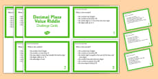 Decimal Place Value Riddle Challenge Cards