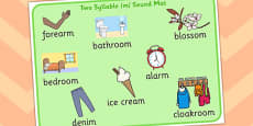 Two Syllable Final M Sound Word Mat 2