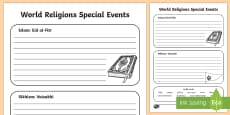 Sikh and Muslim Celebrations Activity Sheet
