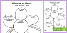 All About Me Flower Writing Template Polish Translation
