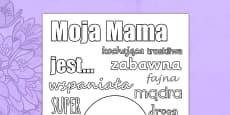 Karta Słowa opisujące mamę Dzień Matki