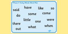 Phase 4 Tricky Words Word Mat