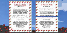 Remembrance Day Poem In Flanders Fields (A3) Poster