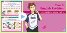 Year 3 English Revision Morning Starter Weekly PowerPoint Pack 4