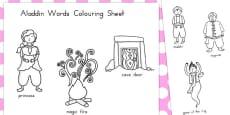 Aladdin Words Colouring Sheet (Australia)