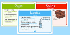Solids, Liquids and Gases Posters Arabic Translation