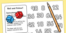 Multiplication Roll and Colour Activity (Two Dice)