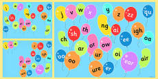 Phase 3 Phonemes on Popping Balloons PowerPoint
