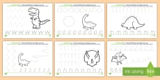 * NEW * Dinosaur Pencil Control Activity Sheets - English/Italian