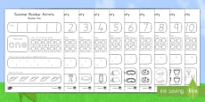 Summer Math Numbers 1-10 Activity Sheets
