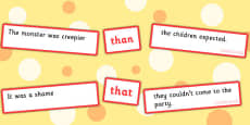 Sentence Matching Game Conjunctions Than, That