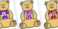 100 High Frequency Words on Bow Tie Teddy