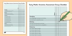 1999 Curriculum Junior Infants Early Maths Activities Assessment Group Checklist