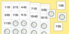 Telling the Time Digital Analogue Pelmanism Game With 5 Minute Intervals