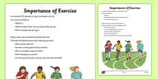 Importance of Exercise Activity Sheet