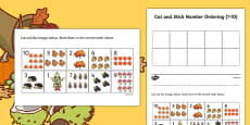Autumn Themed Cut and Stick Number Ordering Sheets 1-10
