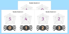 Number Bonds to 5 on Spiders and Webs
