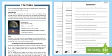 Year 5 The Moon Differentiated Reading Comprehension Activity