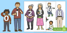 Numbers 0 to 30 on Family Members Display Cut Outs
