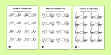 Jungle Themed Differentiated Number Comparison Activity Sheet