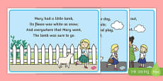 Mary Had a Little Lamb Nursery Rhyme Cards
