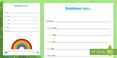 Colours of the Rainbow Writing Activity Sheet