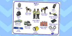 Police Word Mat Arabic Translation