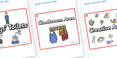 Ruby Themed Editable Square Classroom Area Signs (Plain)