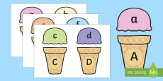 Ice Cream Upper and Lower Case Matching Activity