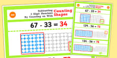 Year 2 Subtracting 2 2 Digit Numbers and Tens by Counting on Using Counting Shapes Display Poster