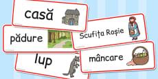 Scufița Roșie - Cartonașe cu imagini și cuvinte