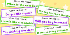 Listen and Repeat 4-5 Word Length Sentence Cards Set 2