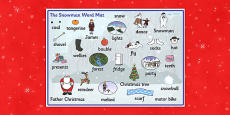 Word Mat to Support Teaching on The Snowman