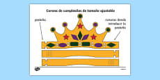 Corona de cumpleaños de tamaño ajustable