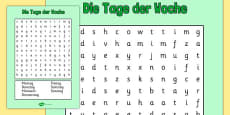 Days of the Week Word Search German