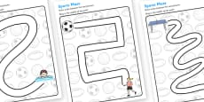 Sport Pencil Control Path Activity Sheets