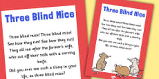 Three Blind Mice Nursery Rhyme Poster