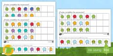 Ficha de actividad de atención a la diversidad: Completar las secuencias - Orugas