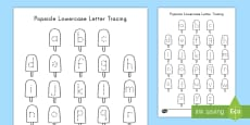 Popsicle Lowercase Letter Tracing Activity Sheet
