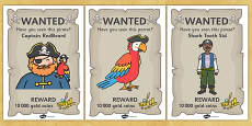 Pirate Wanted Display Posters