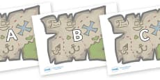 A-Z Alphabet on Treasure Maps