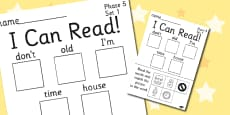 I Can Read Phase 5 Set 1 Words Activity Sheet