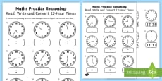 Read, Write and Convert Time Between Analogue and Digital 12 hour Clocks Assessment