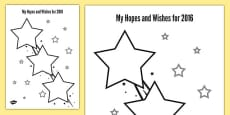My Hopes and Wishes for 2016 Activity Sheet