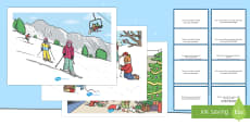 Winter Scenes and Question Cards Pack English/Romanian