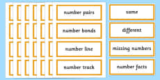 Year 2 Maths Vocabulary Word Cards General